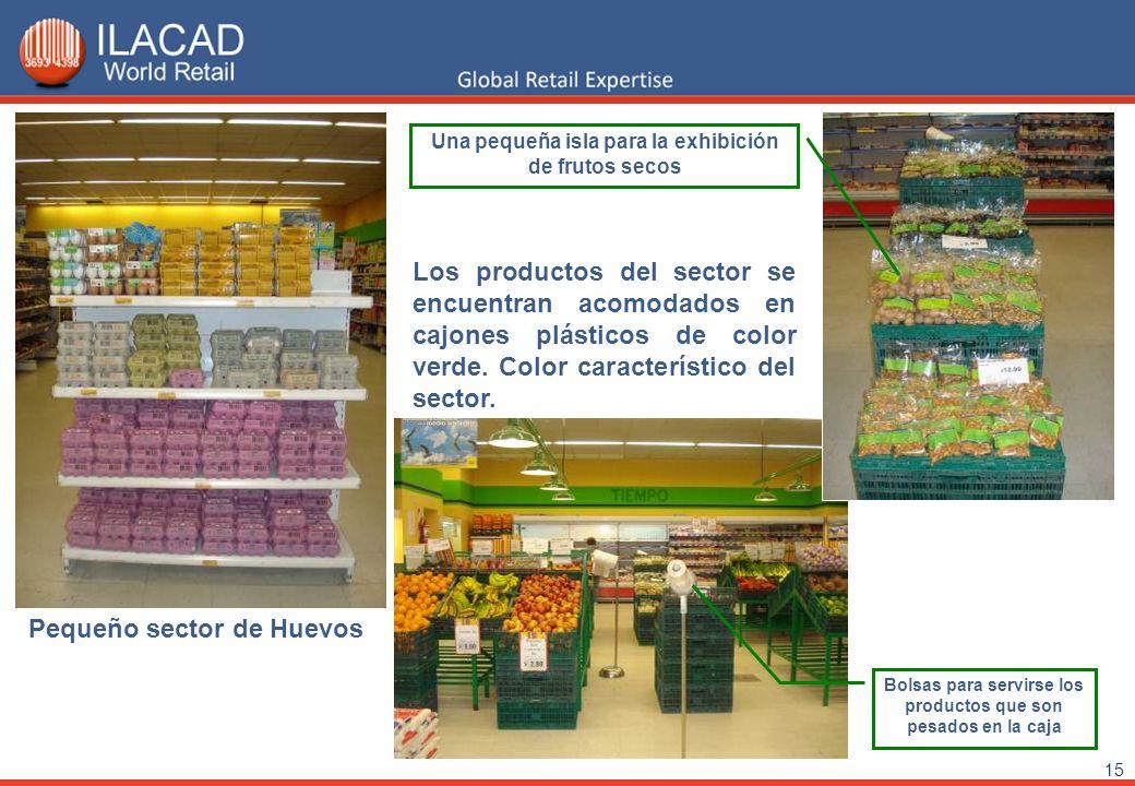 15 Pequeño sector de Huevos Una pequeña isla para la exhibición de frutos secos Los productos del sector se encuentran acomodados en cajones plásticos