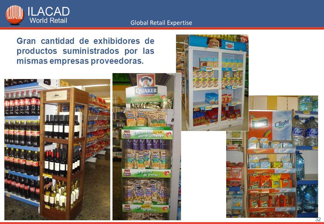 32 Gran cantidad de exhibidores de productos suministrados por las mismas empresas proveedoras.