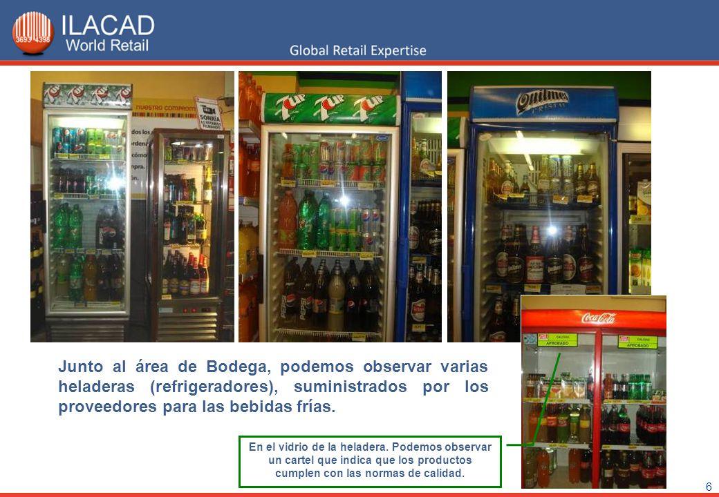 6 Junto al área de Bodega, podemos observar varias heladeras (refrigeradores), suministrados por los proveedores para las bebidas frías. En el vidrio