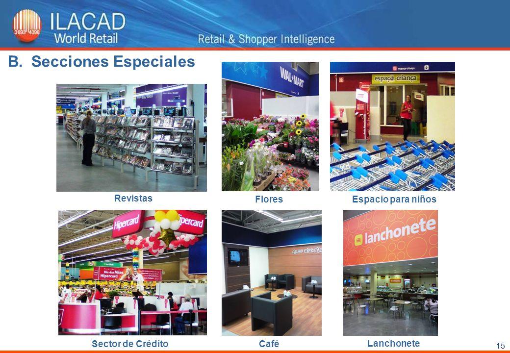 15 Revistas FloresEspacio para niños Sector de Crédito Café Lanchonete B.Secciones Especiales