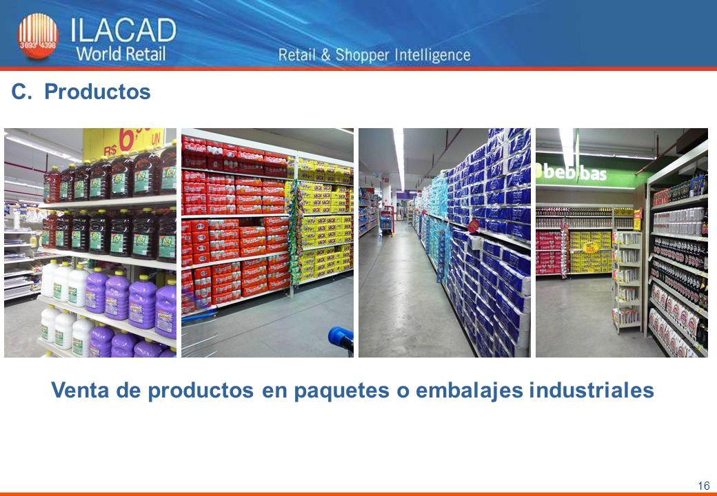 16 Venta de productos en paquetes o embalajes industriales C.Productos