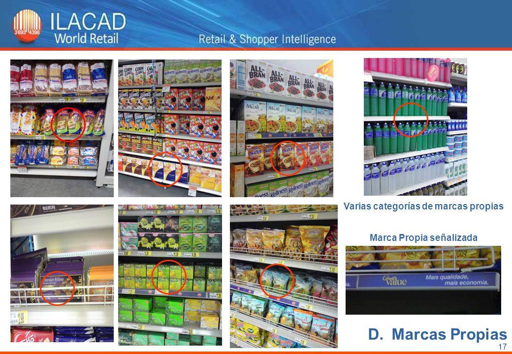17 Varias categorías de marcas propias Marca Propia señalizada D.Marcas Propias