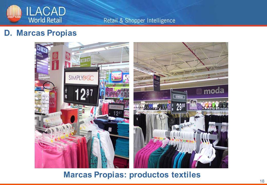 18 Marcas Propias: productos textiles D.Marcas Propias