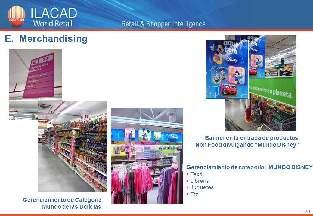 20 Gerenciamiento de Categoria Mundo de las Delícias Gerenciamiento de categoria: MUNDO DISNEY Textil Librería Juguetes Etc.. Banner en la entrada de