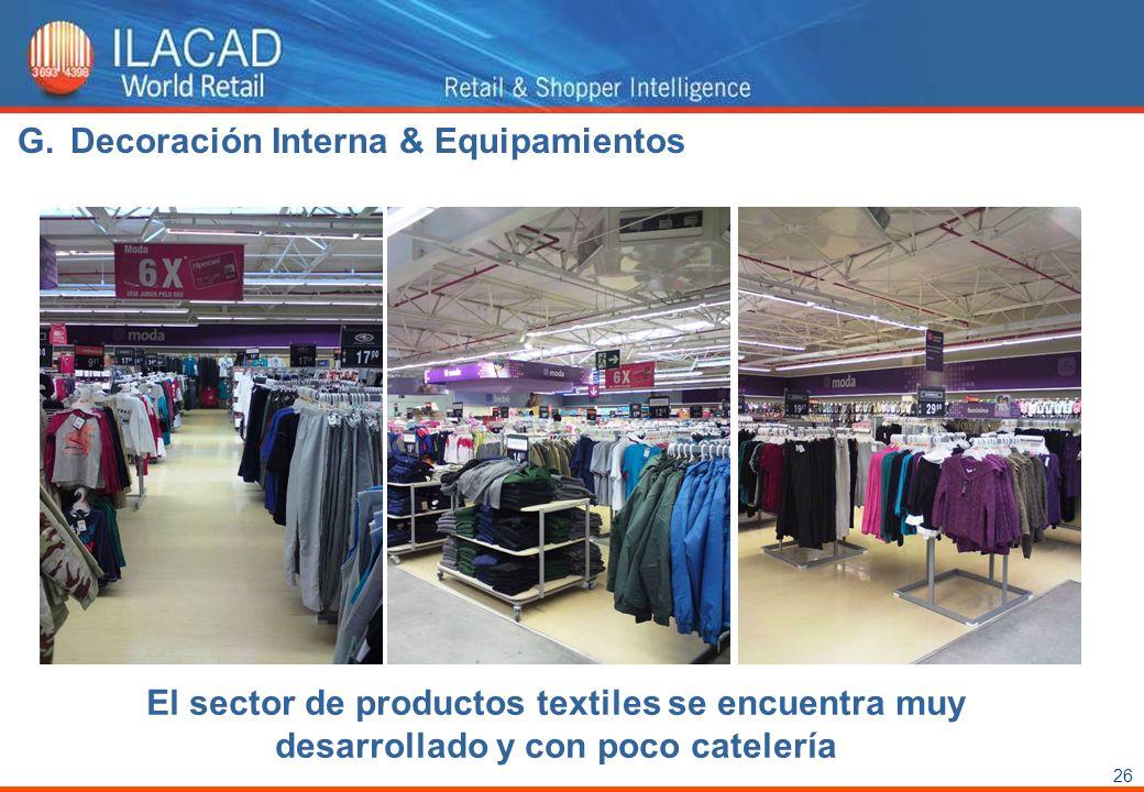 26 El sector de productos textiles se encuentra muy desarrollado y con poco catelería G.Decoración Interna & Equipamientos
