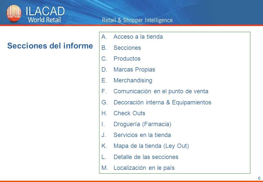 6 Secciones del informe A.Acceso a la tienda B.Secciones C.Productos D.Marcas Propias E.Merchandising F.Comunicación en el punto de venta G.Decoración