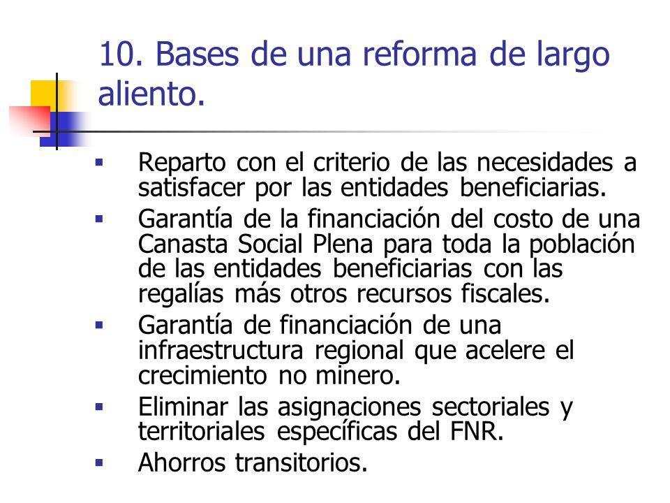 10. Bases de una reforma de largo aliento. Reparto con el criterio de las necesidades a satisfacer por las entidades beneficiarias. Garantía de la fin