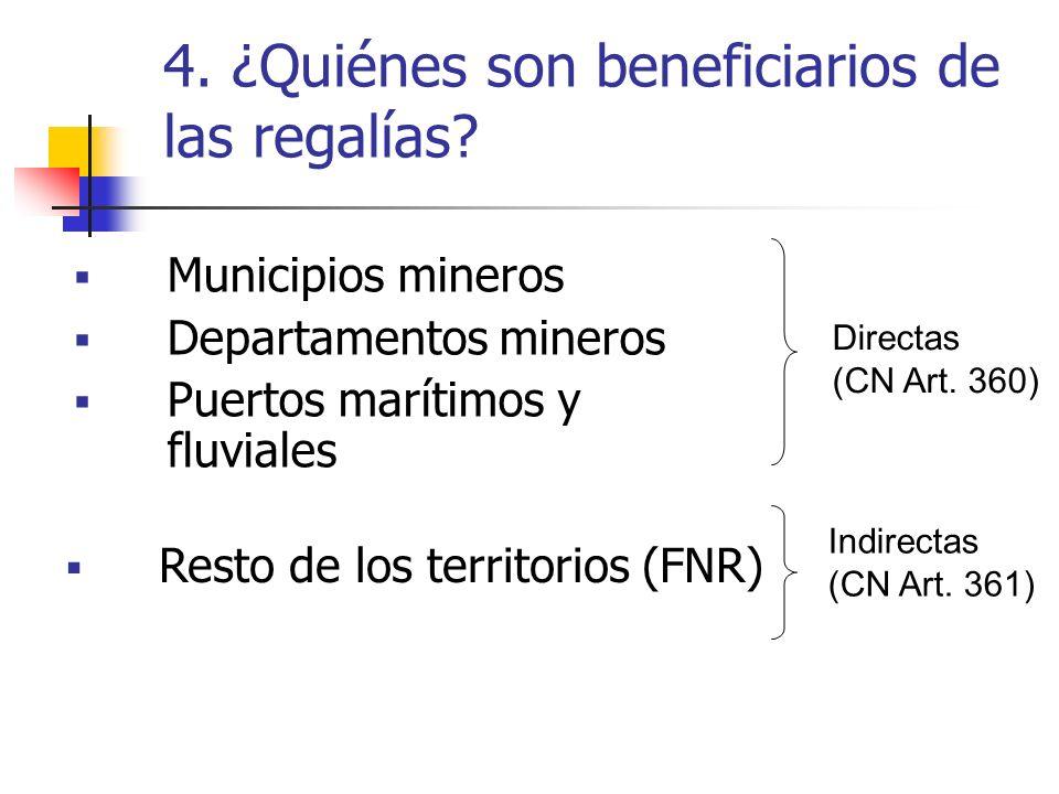 4. ¿Quiénes son beneficiarios de las regalías? Municipios mineros Departamentos mineros Puertos marítimos y fluviales Directas (CN Art. 360) Indirecta