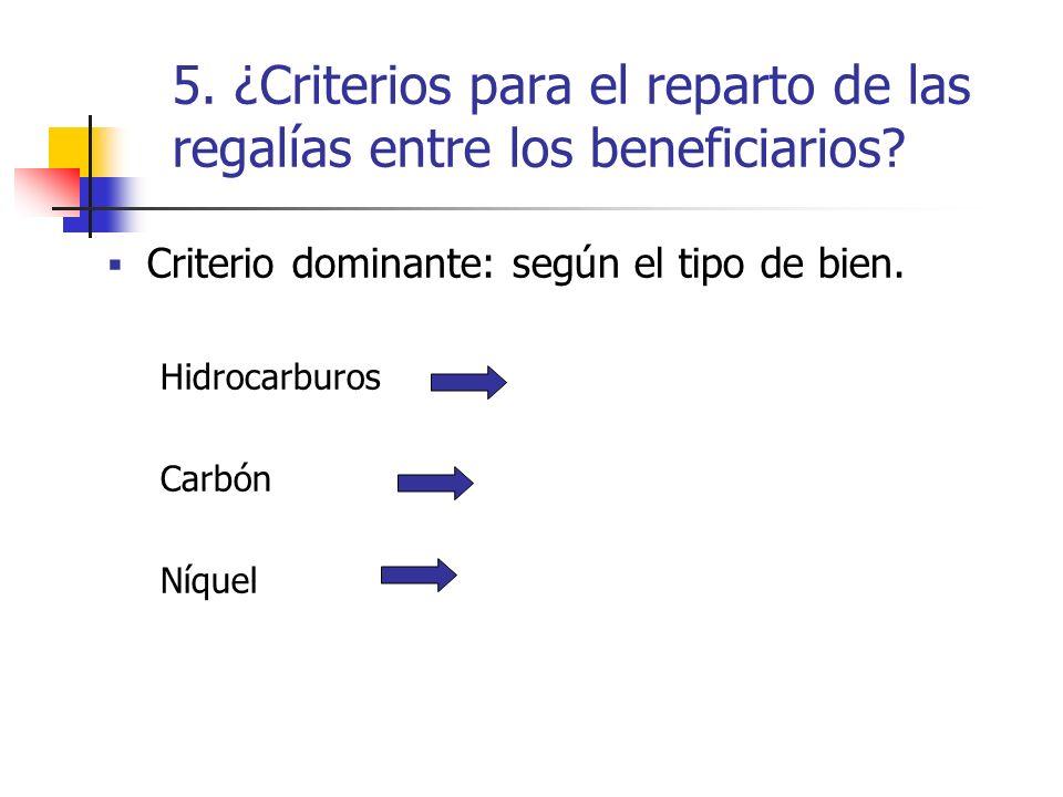 5. ¿Criterios para el reparto de las regalías entre los beneficiarios? Criterio dominante: según el tipo de bien. Hidrocarburos Carbón Níquel