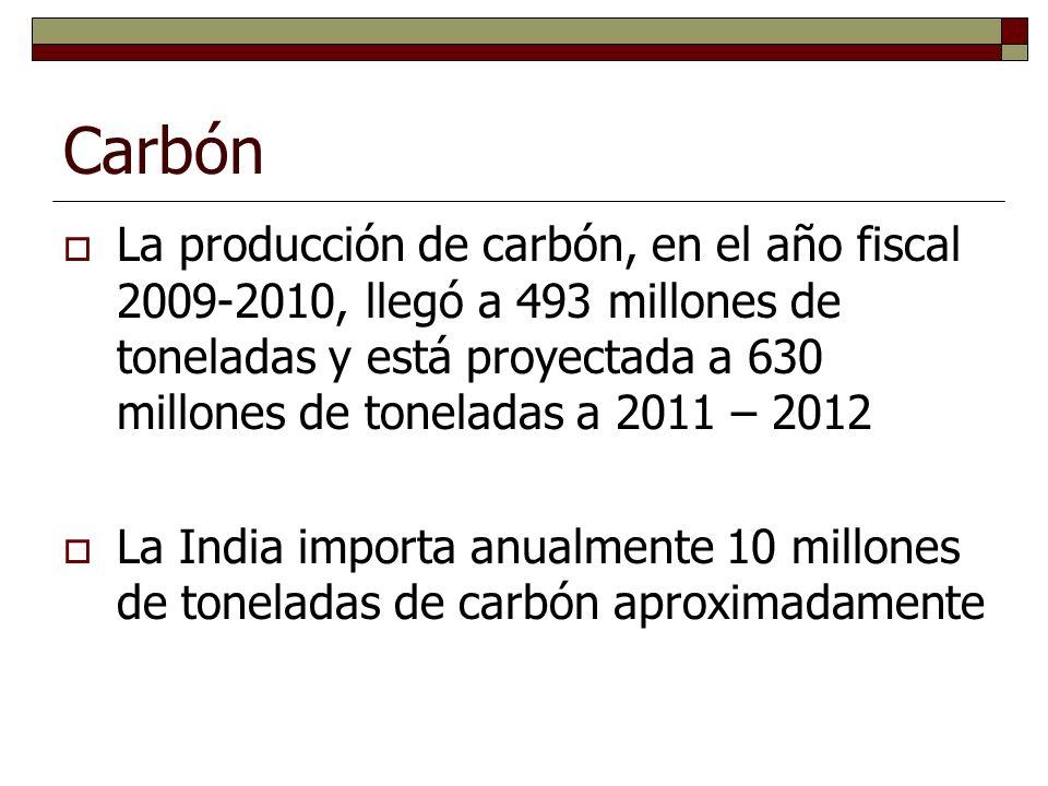 Carbón La producción de carbón, en el año fiscal 2009-2010, llegó a 493 millones de toneladas y está proyectada a 630 millones de toneladas a 2011 – 2012 La India importa anualmente 10 millones de toneladas de carbón aproximadamente