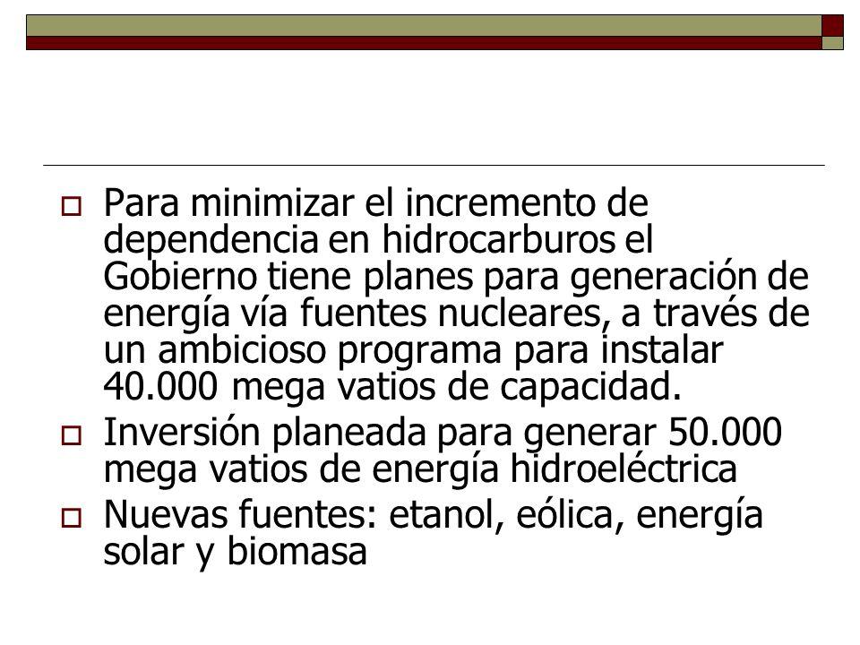 Para minimizar el incremento de dependencia en hidrocarburos el Gobierno tiene planes para generación de energía vía fuentes nucleares, a través de un ambicioso programa para instalar 40.000 mega vatios de capacidad.
