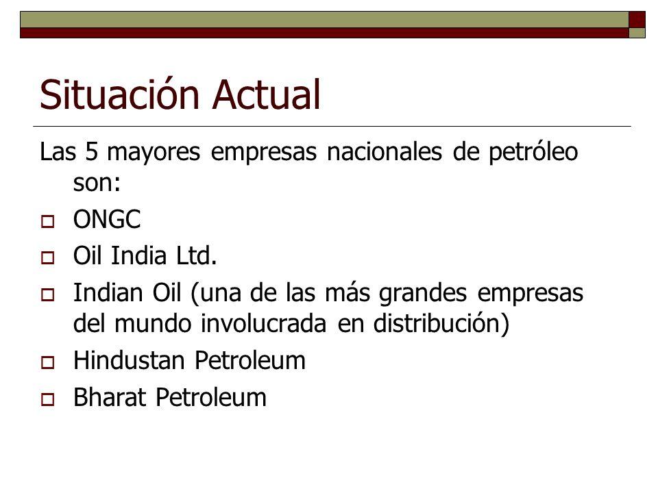 Situación Actual Las 5 mayores empresas nacionales de petróleo son: ONGC Oil India Ltd.