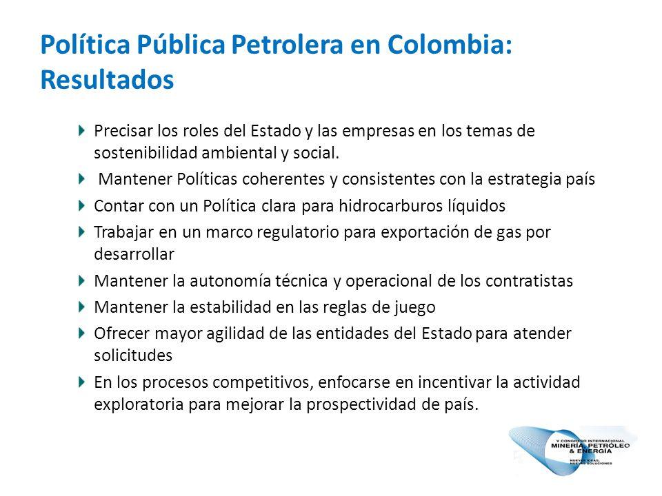 Política Pública Petrolera en Colombia: Resultados Precisar los roles del Estado y las empresas en los temas de sostenibilidad ambiental y social.