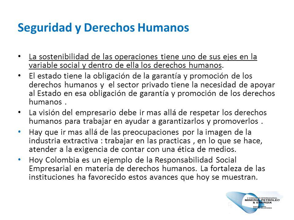 Seguridad y Derechos Humanos La sostenibilidad de las operaciones tiene uno de sus ejes en la variable social y dentro de ella los derechos humanos.