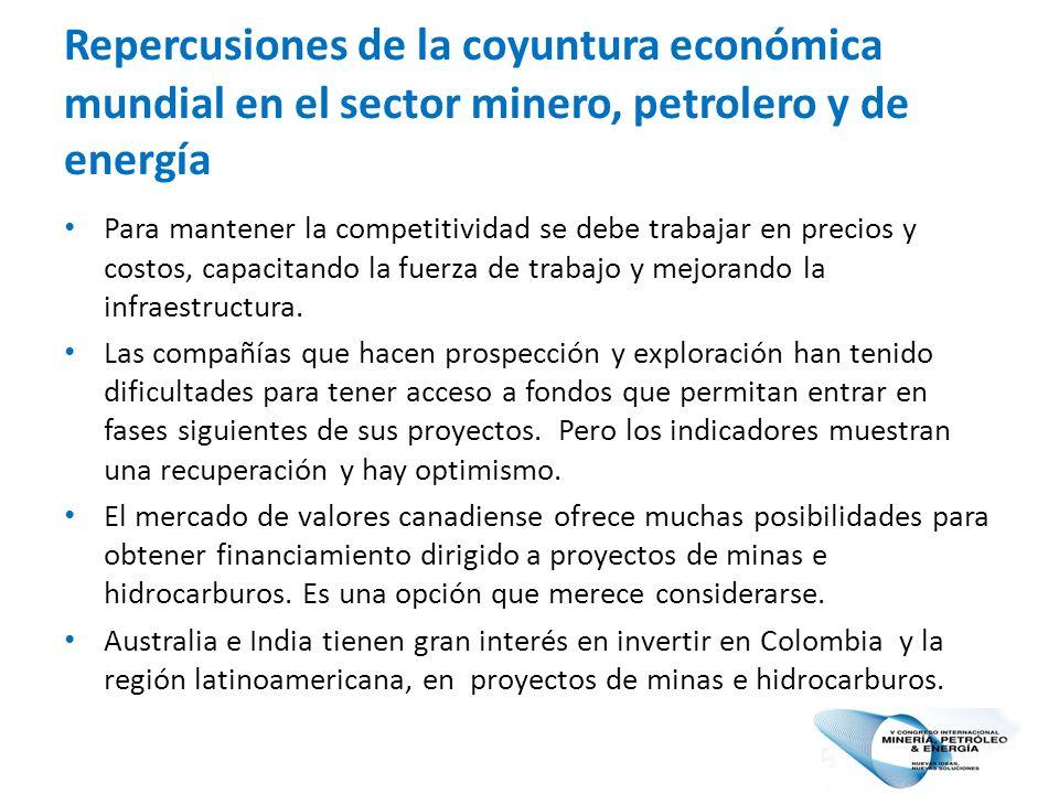 Repercusiones de la coyuntura económica mundial en el sector minero, petrolero y de energía Para mantener la competitividad se debe trabajar en precios y costos, capacitando la fuerza de trabajo y mejorando la infraestructura.