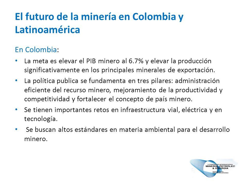 El futuro de la minería en Colombia y Latinoamérica En Colombia: La meta es elevar el PIB minero al 6.7% y elevar la producción significativamente en los principales minerales de exportación.