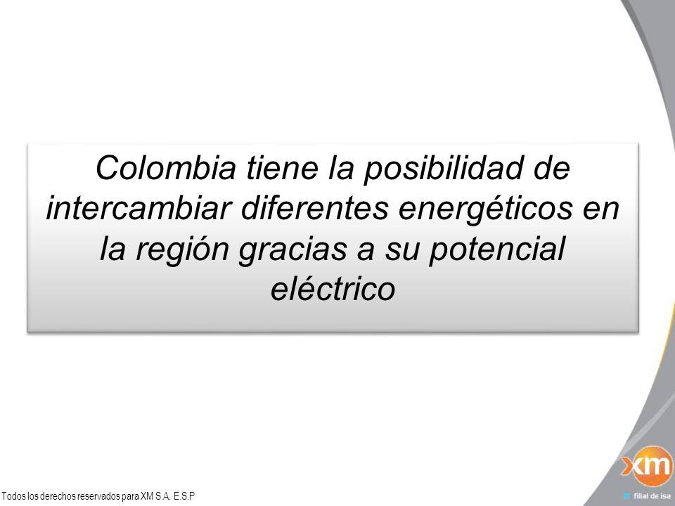 Todos los derechos reservados para XM S.A. E.S.P Colombia tiene la posibilidad de intercambiar diferentes energéticos en la región gracias a su potenc