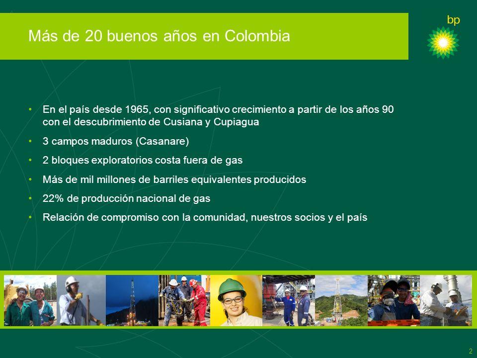 2 Más de 20 buenos años en Colombia En el país desde 1965, con significativo crecimiento a partir de los años 90 con el descubrimiento de Cusiana y Cu