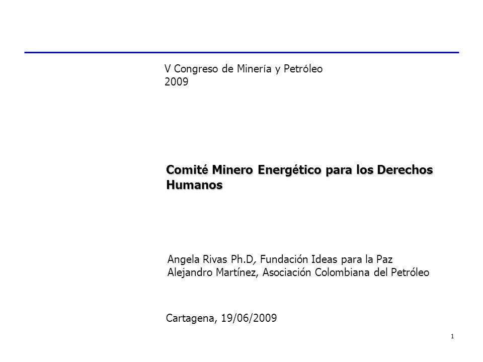 1 Comit é Minero Energ é tico para los Derechos Humanos Cartagena, 19/06/2009 V Congreso de Miner í a y Petr ó leo 2009 Angela Rivas Ph.D, Fundación I