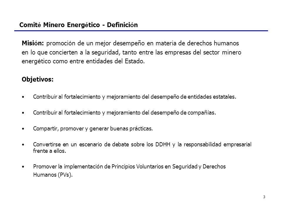 4 Comit é Minero Energ é tico - Definici ó n - Principios Voluntarios El CME toma los Principios Voluntarios en Seguridad y Derechos Humanos como un referente importante en su trabajo en torno a los Derechos Humanos, en lo que respecta a seguridad..