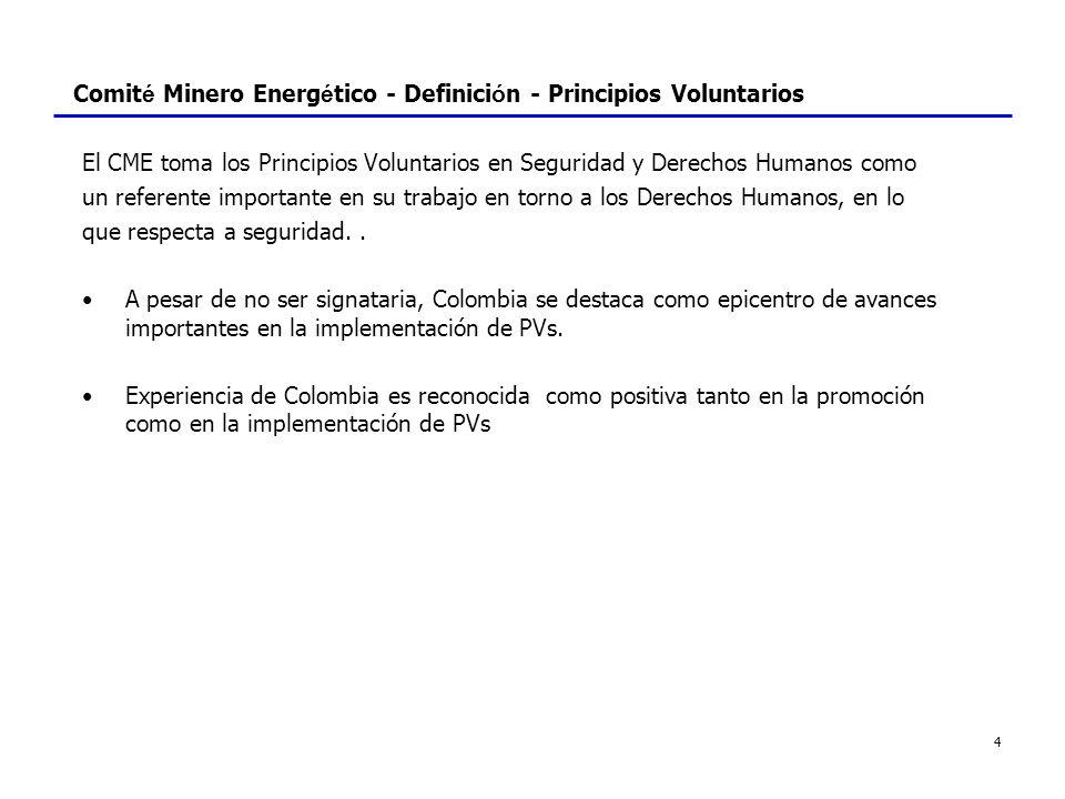 4 Comit é Minero Energ é tico - Definici ó n - Principios Voluntarios El CME toma los Principios Voluntarios en Seguridad y Derechos Humanos como un r