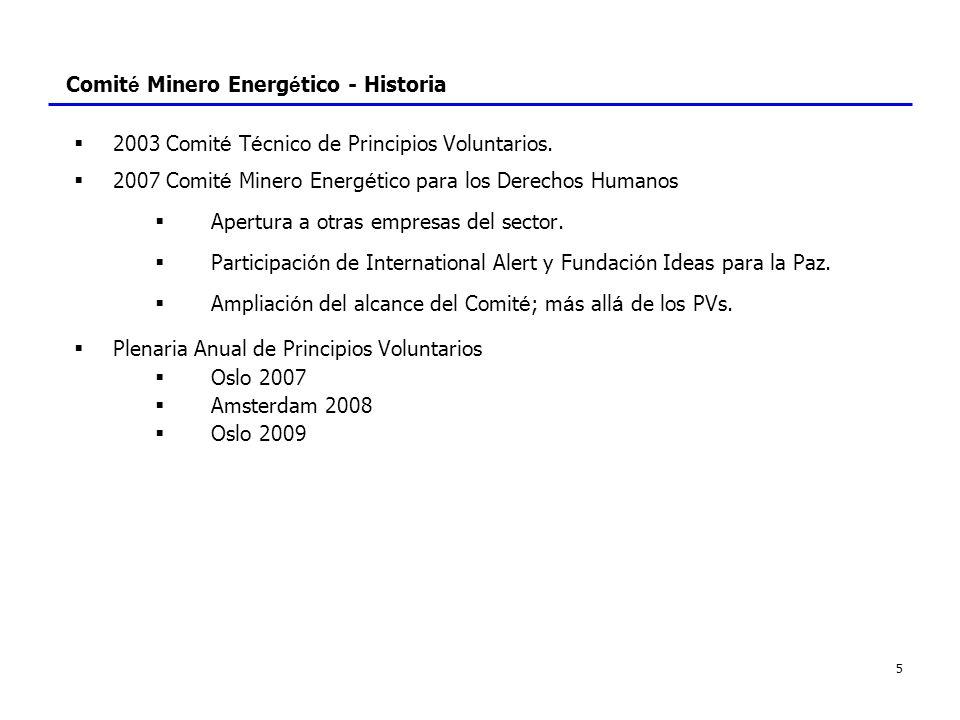 5 Comit é Minero Energ é tico - Historia 2003 Comit é T é cnico de Principios Voluntarios. 2007 Comit é Minero Energ é tico para los Derechos Humanos