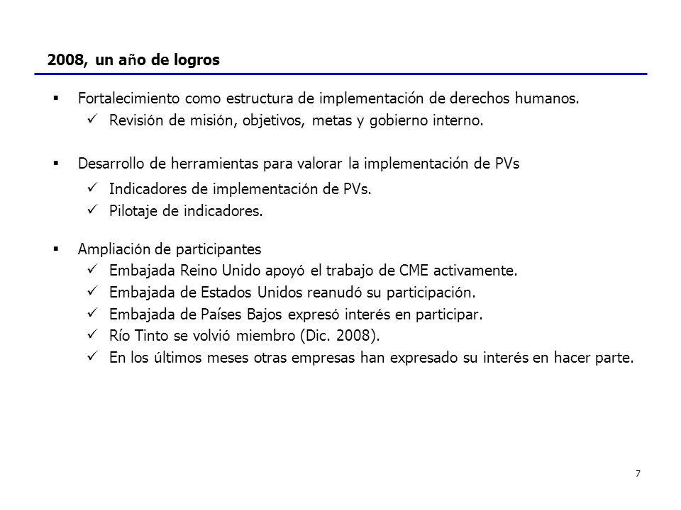 7 2008, un a ñ o de logros Fortalecimiento como estructura de implementación de derechos humanos. Revisi ó n de misi ó n, objetivos, metas y gobierno