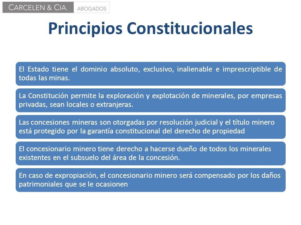 Principios Constitucionales El Estado tiene el dominio absoluto, exclusivo, inalienable e imprescriptible de todas las minas. La Constitución permite