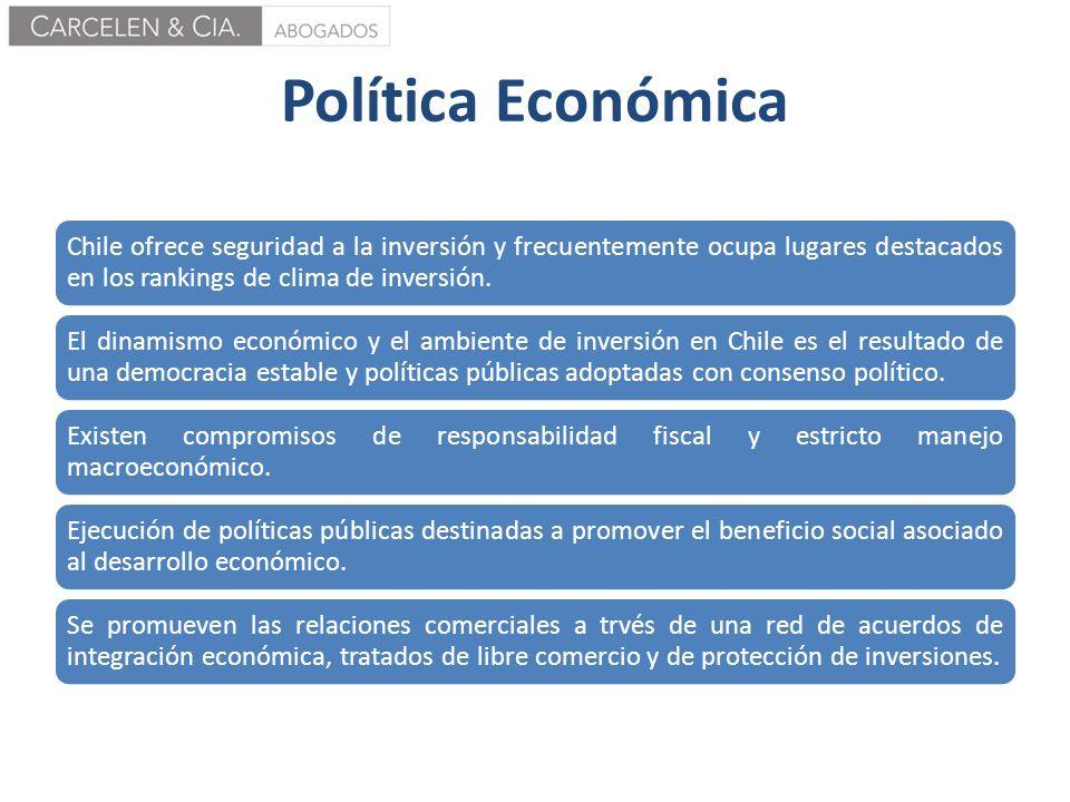 Política Económica Chile ofrece seguridad a la inversión y frecuentemente ocupa lugares destacados en los rankings de clima de inversión. El dinamismo