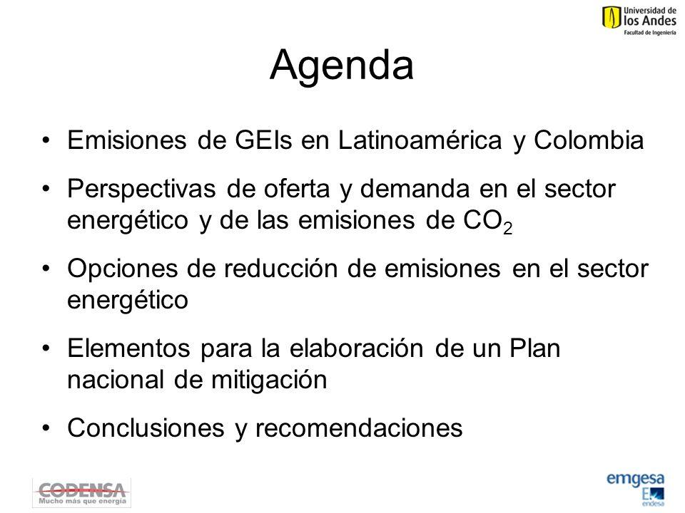 Agenda Emisiones de GEIs en Latinoamérica y Colombia Perspectivas de oferta y demanda en el sector energético y de las emisiones de CO 2 Opciones de reducción de emisiones en el sector energético Elementos para la elaboración de un Plan nacional de mitigación Conclusiones y recomendaciones