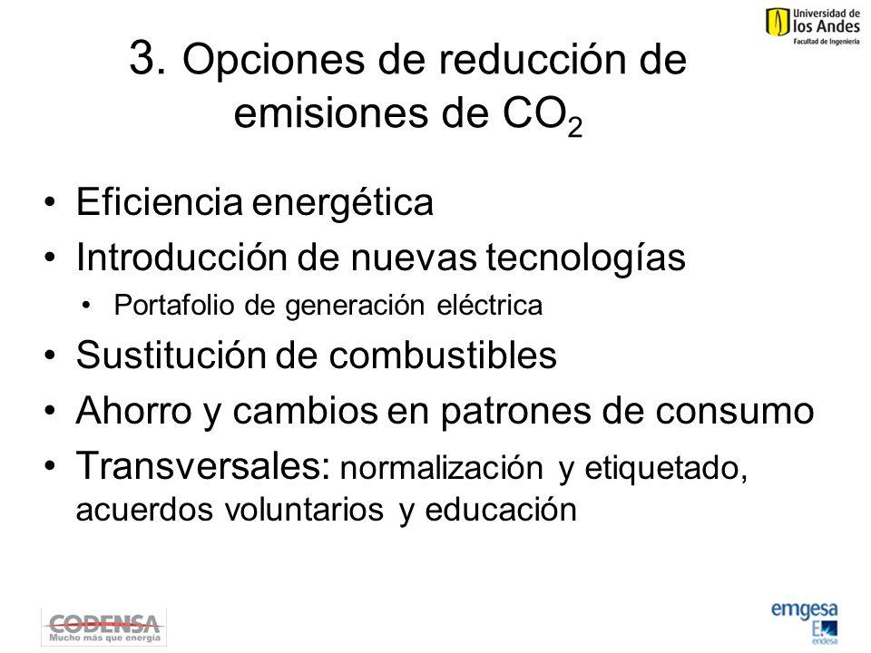 3. Opciones de reducción de emisiones de CO 2 Eficiencia energética Introducción de nuevas tecnologías Portafolio de generación eléctrica Sustitución