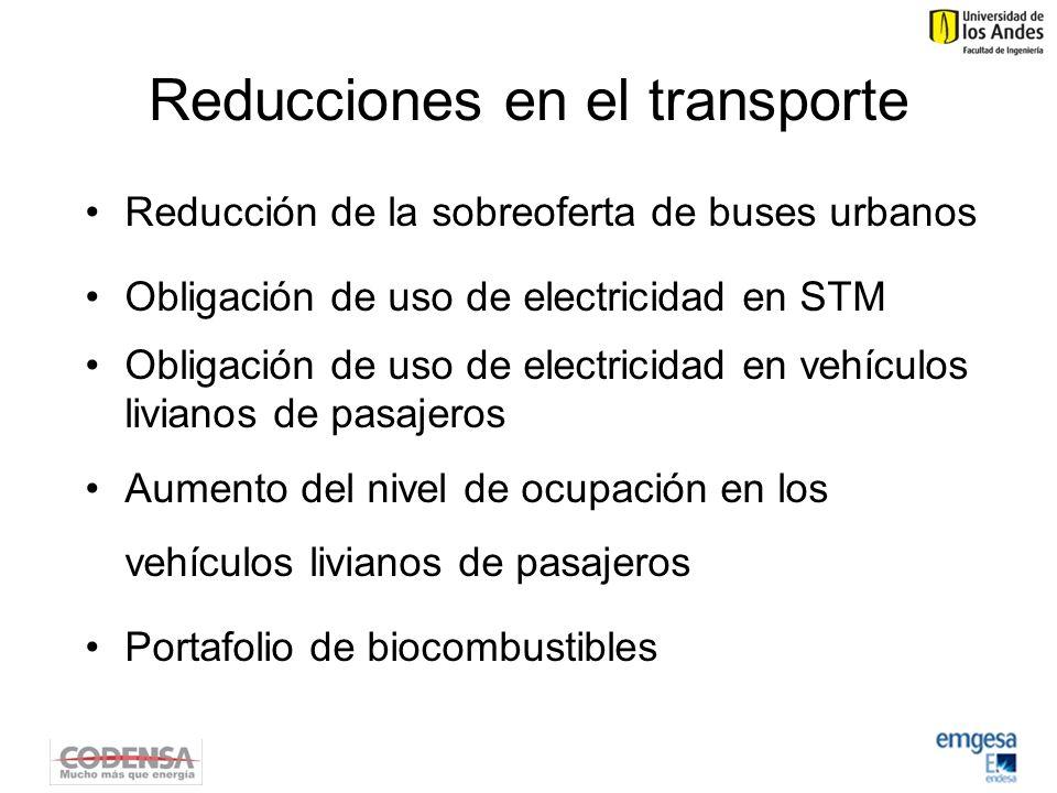 Reducciones en el transporte Reducción de la sobreoferta de buses urbanos Obligación de uso de electricidad en STM Obligación de uso de electricidad en vehículos livianos de pasajeros Aumento del nivel de ocupación en los vehículos livianos de pasajeros Portafolio de biocombustibles