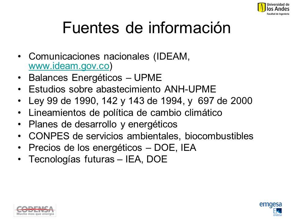 Fuentes de información Comunicaciones nacionales (IDEAM, www.ideam.gov.co) www.ideam.gov.co Balances Energéticos – UPME Estudios sobre abastecimiento ANH-UPME Ley 99 de 1990, 142 y 143 de 1994, y 697 de 2000 Lineamientos de política de cambio climático Planes de desarrollo y energéticos CONPES de servicios ambientales, biocombustibles Precios de los energéticos – DOE, IEA Tecnologías futuras – IEA, DOE