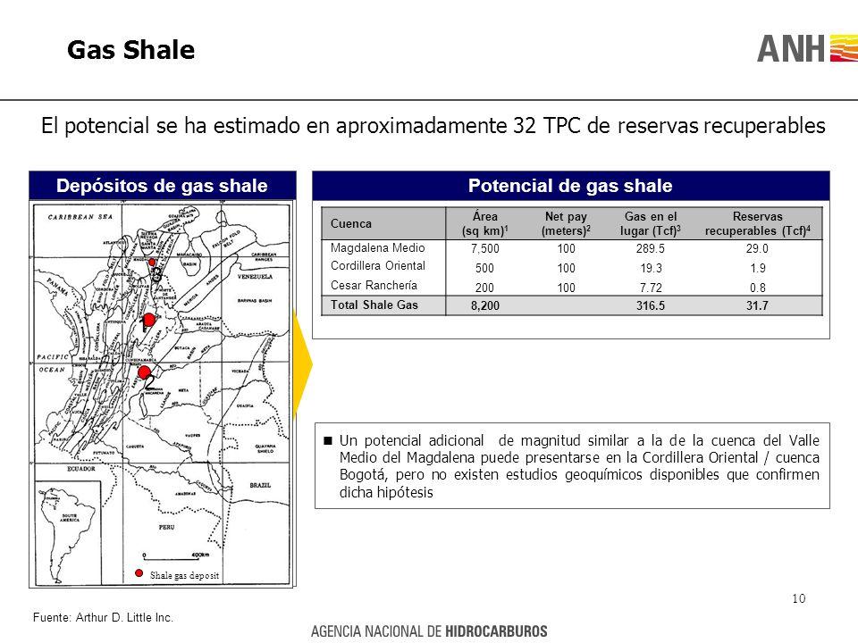Gas Shale El potencial se ha estimado en aproximadamente 32 TPC de reservas recuperables Potencial de gas shaleDepósitos de gas shale Shale gas deposi