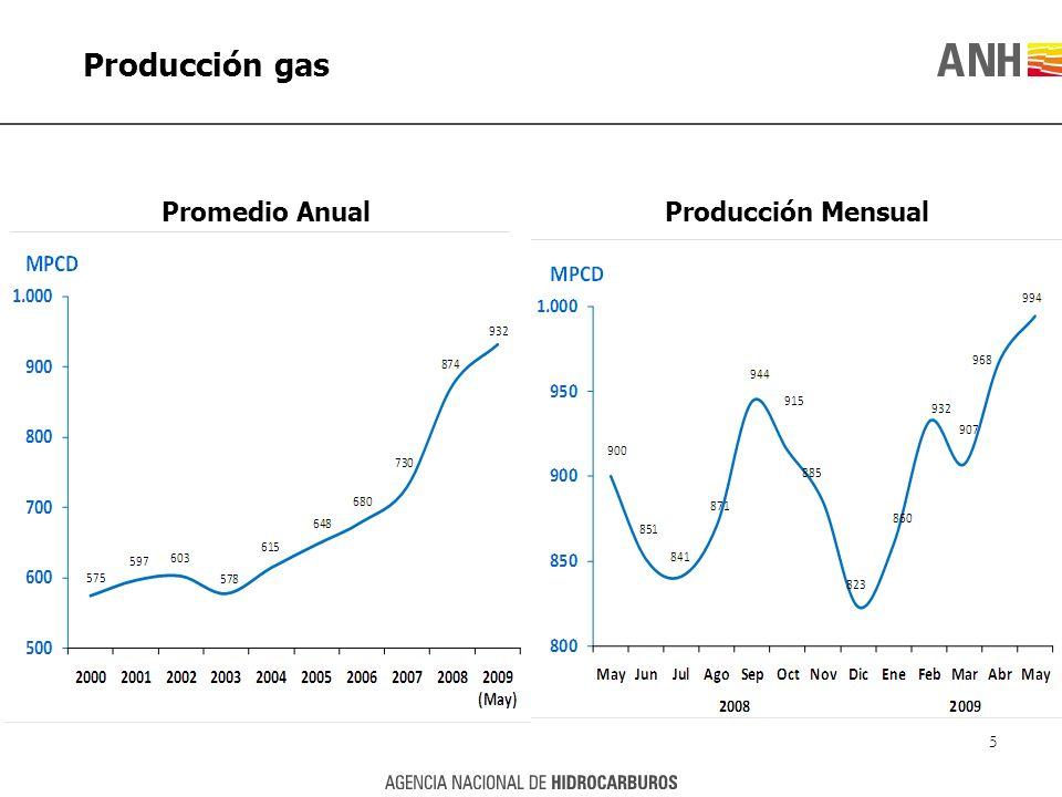 Producción gas Promedio AnualProducción Mensual 5