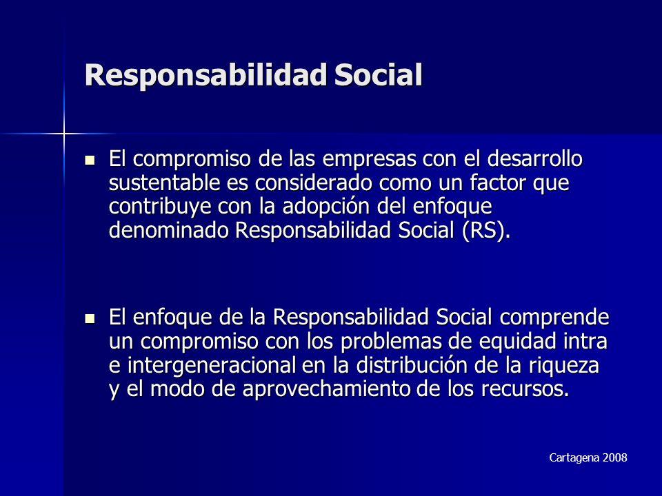 Responsabilidad Social El compromiso de las empresas con el desarrollo sustentable es considerado como un factor que contribuye con la adopción del enfoque denominado Responsabilidad Social (RS).
