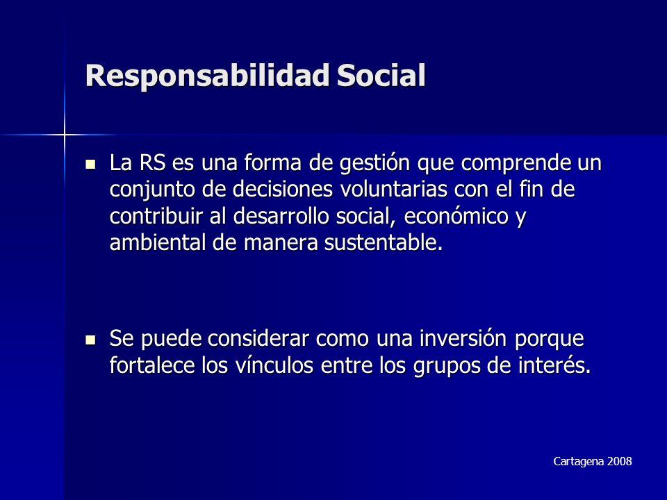 Responsabilidad Social La RS es una forma de gestión que comprende un conjunto de decisiones voluntarias con el fin de contribuir al desarrollo social, económico y ambiental de manera sustentable.