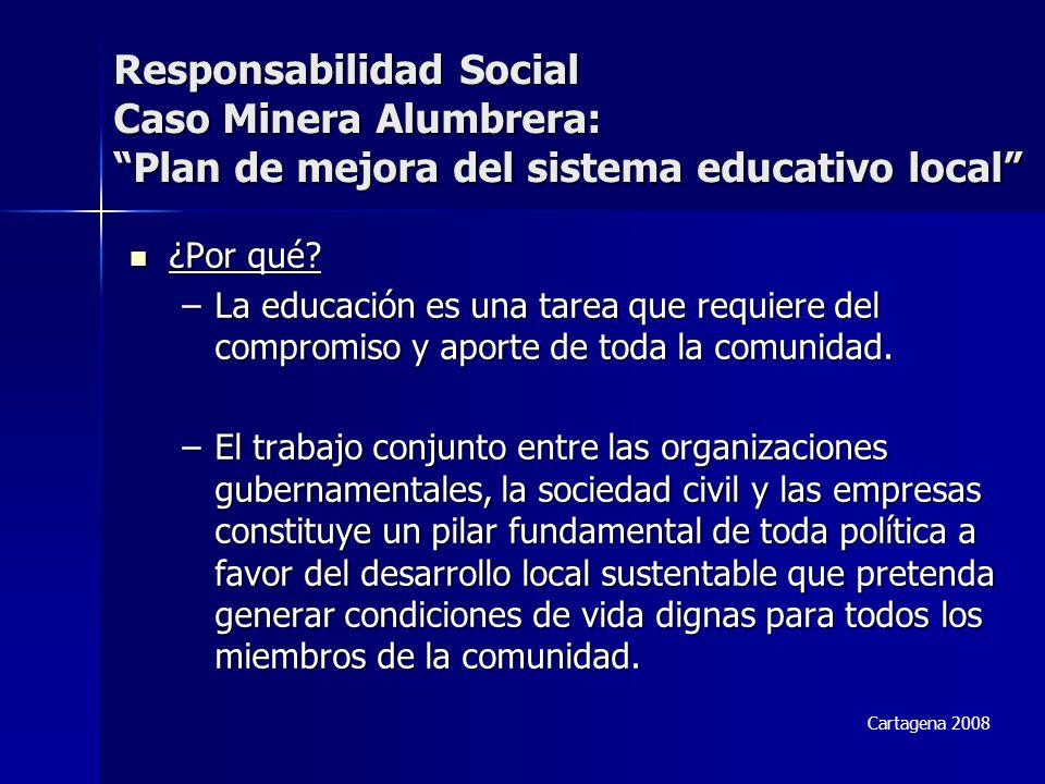 Responsabilidad Social Caso Minera Alumbrera: Plan de mejora del sistema educativo local ¿Por qué? ¿Por qué? –La educación es una tarea que requiere d