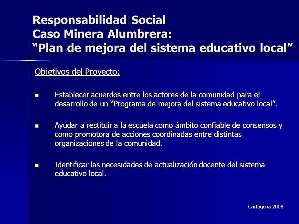 Responsabilidad Social Caso Minera Alumbrera: Plan de mejora del sistema educativo local Objetivos del Proyecto: Establecer acuerdos entre los actores de la comunidad para el desarrollo de un Programa de mejora del sistema educativo local.