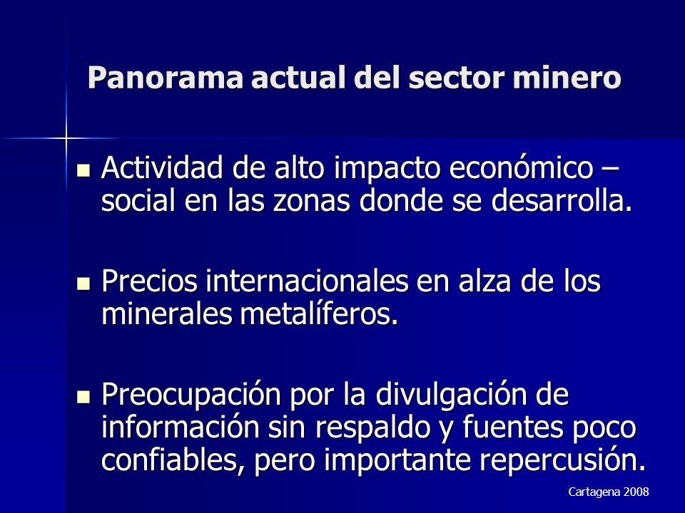 Panorama actual del sector minero Actividad de alto impacto económico – social en las zonas donde se desarrolla. Actividad de alto impacto económico –