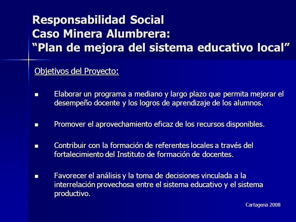 Responsabilidad Social Caso Minera Alumbrera: Plan de mejora del sistema educativo local Objetivos del Proyecto: Elaborar un programa a mediano y largo plazo que permita mejorar el desempeño docente y los logros de aprendizaje de los alumnos.