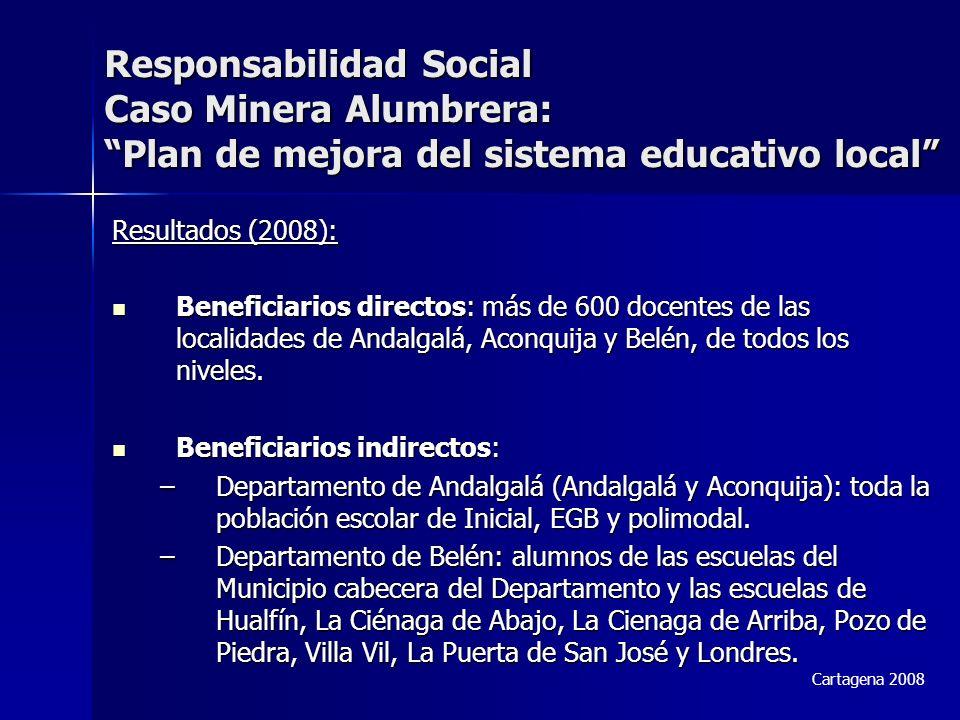 Responsabilidad Social Caso Minera Alumbrera: Plan de mejora del sistema educativo local Resultados (2008): Beneficiarios directos: más de 600 docentes de las localidades de Andalgalá, Aconquija y Belén, de todos los niveles.