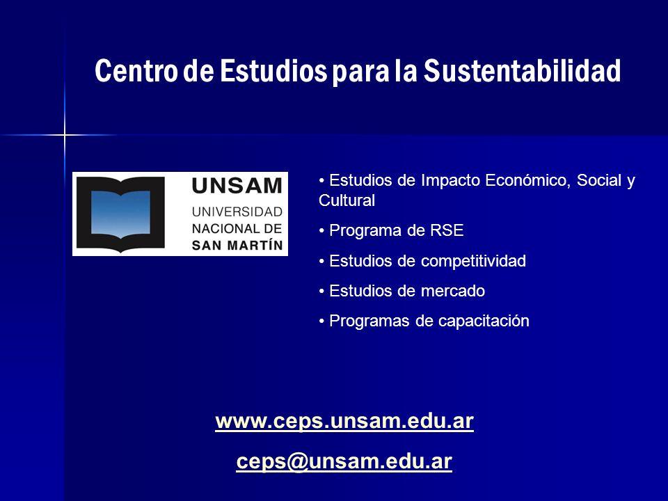Centro de Estudios para la Sustentabilidad www.ceps.unsam.edu.ar ceps@unsam.edu.ar Estudios de Impacto Económico, Social y Cultural Programa de RSE Estudios de competitividad Estudios de mercado Programas de capacitación