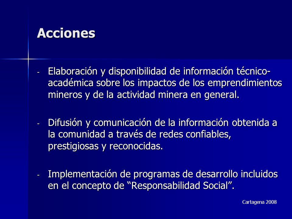 Acciones - Elaboración y disponibilidad de información técnico- académica sobre los impactos de los emprendimientos mineros y de la actividad minera en general.