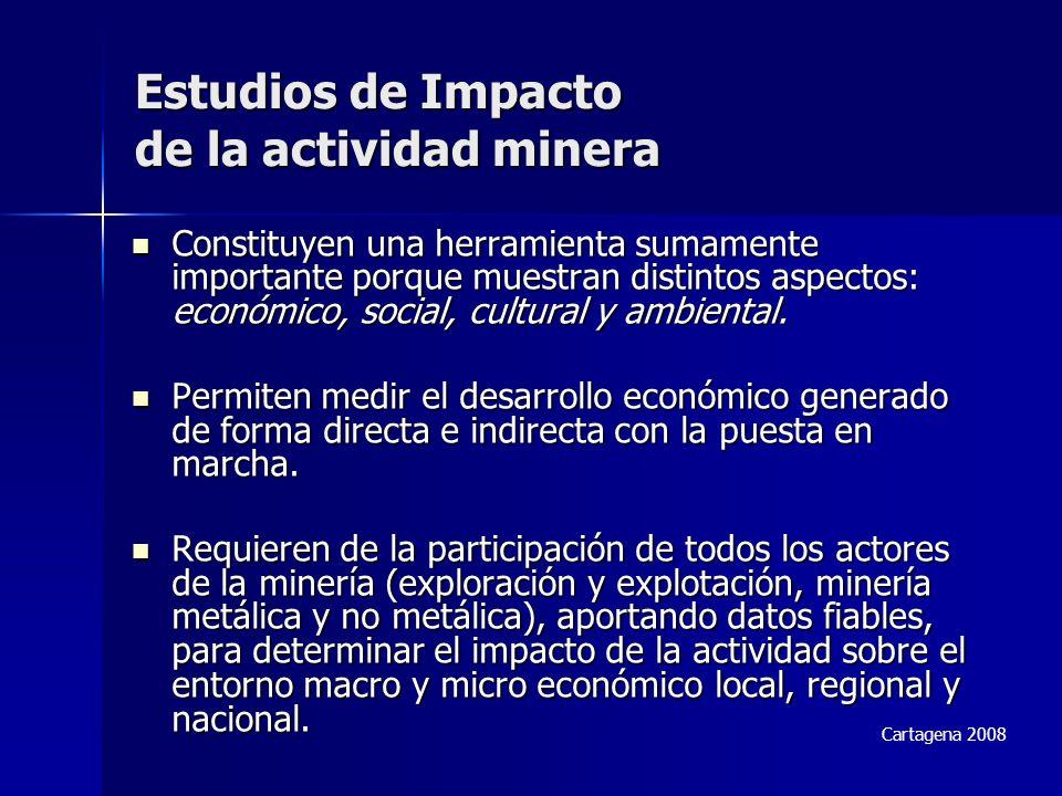 Estudios de Impacto de la actividad minera Constituyen una herramienta sumamente importante porque muestran distintos aspectos: económico, social, cultural y ambiental.