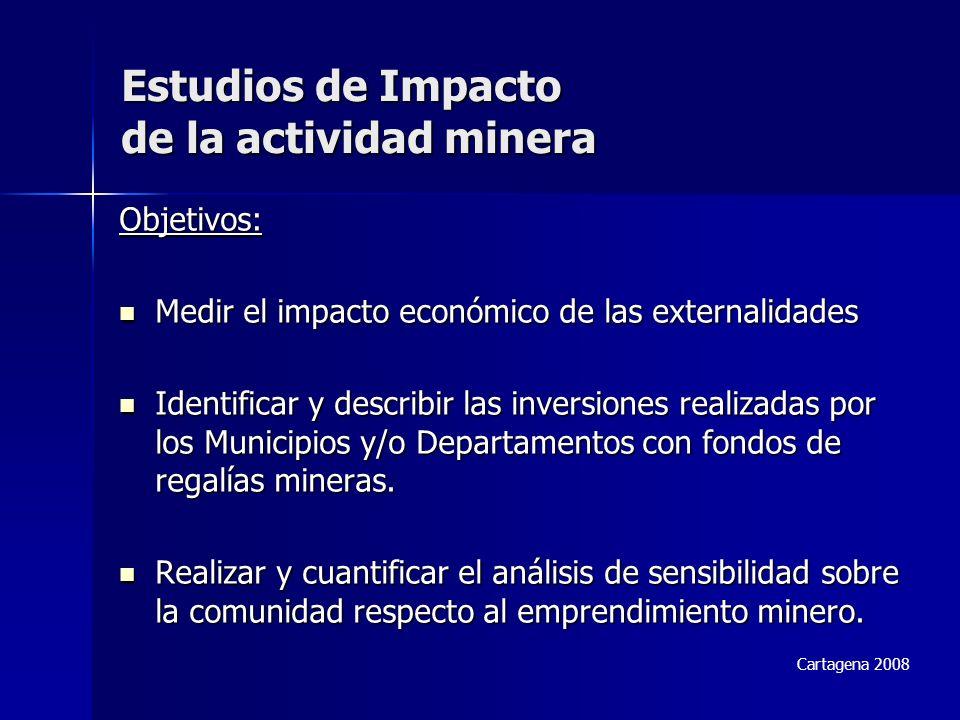 Objetivos: Medir el impacto económico de las externalidades Medir el impacto económico de las externalidades Identificar y describir las inversiones realizadas por los Municipios y/o Departamentos con fondos de regalías mineras.