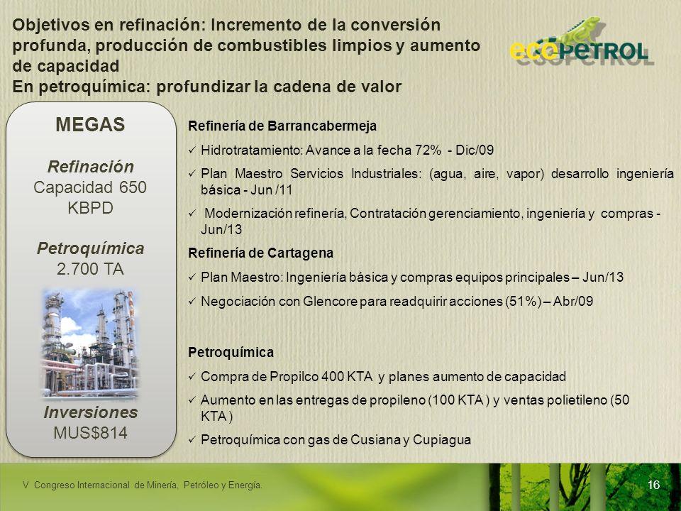 LACPEC 2009 Refinería de Barrancabermeja Hidrotratamiento: Avance a la fecha 72% - Dic/09 Plan Maestro Servicios Industriales: (agua, aire, vapor) des