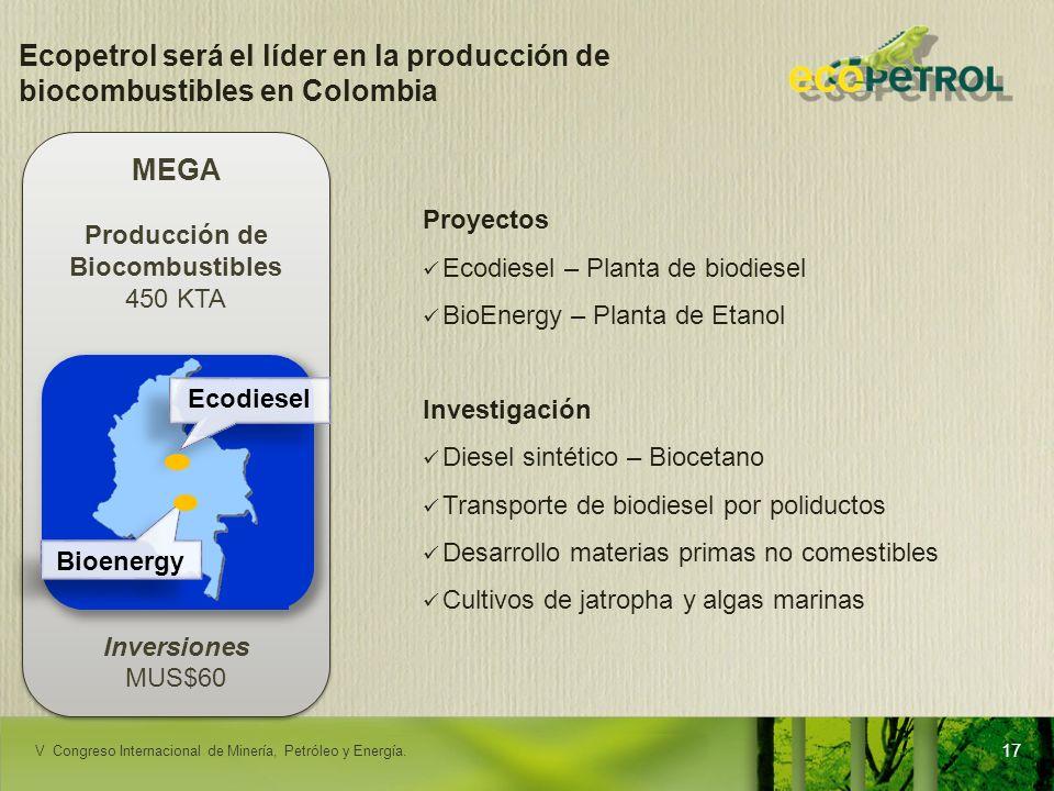 LACPEC 2009 Ecopetrol será el líder en la producción de biocombustibles en Colombia Proyectos Ecodiesel – Planta de biodiesel BioEnergy – Planta de Et