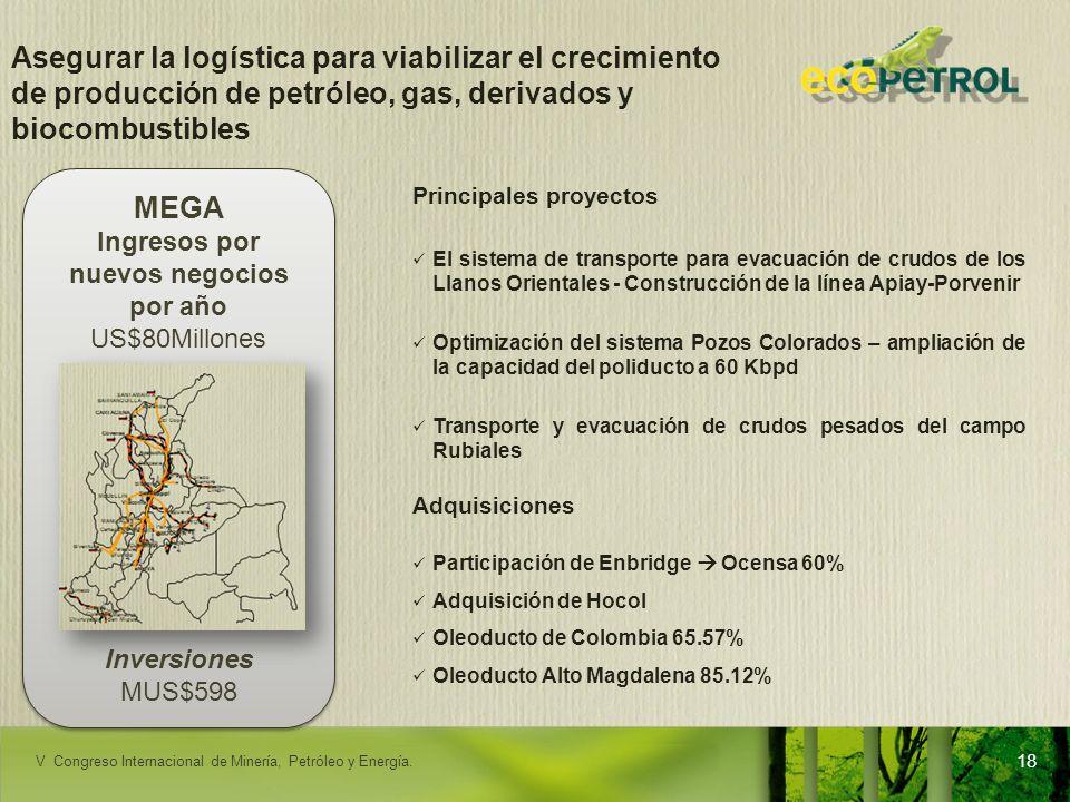 LACPEC 2009 Asegurar la logística para viabilizar el crecimiento de producción de petróleo, gas, derivados y biocombustibles Principales proyectos El