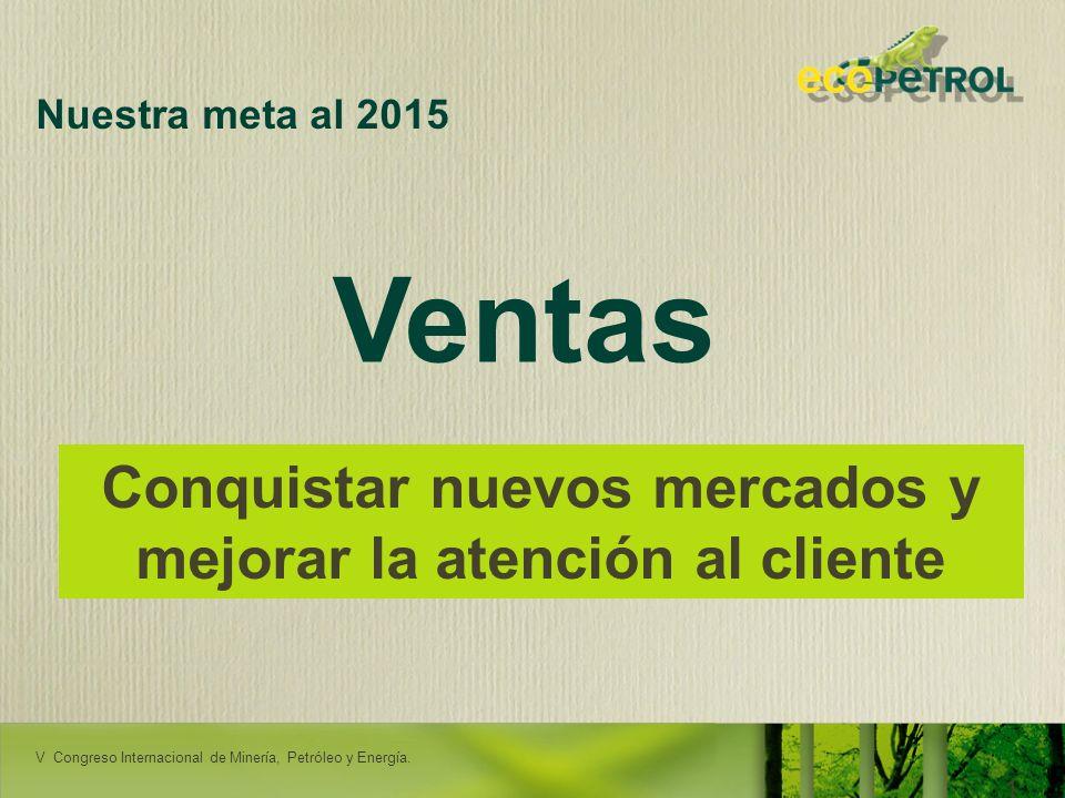 LACPEC 2009 19 Nuestra meta al 2015 Conquistar nuevos mercados y mejorar la atención al cliente Ventas RENDICIÓN DE CUENTAS - ORITO V Congreso Interna